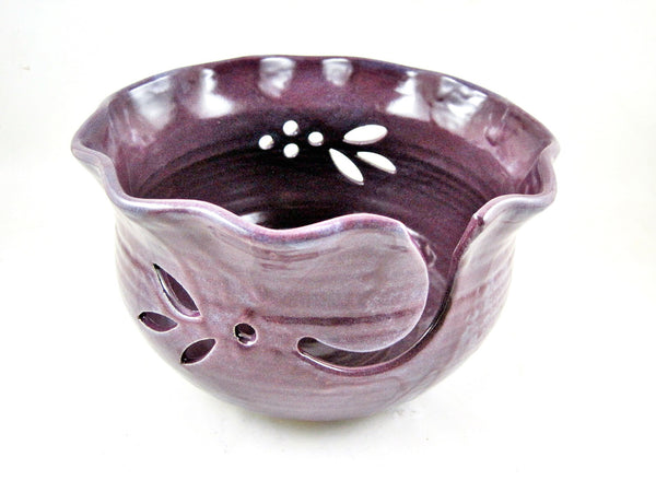 Purple Yarn bowl, knitting bowl - In stock