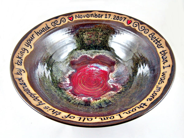 Brown/Olive/Red personalized wedding bowl, names, date and phrase