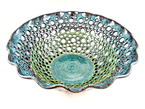 "Large Handmade Pottery Fruit Bowl in Teal blue 11.75"" x 4.25"" - 83 FB"