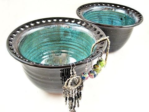 Black/Teal blue earring holder