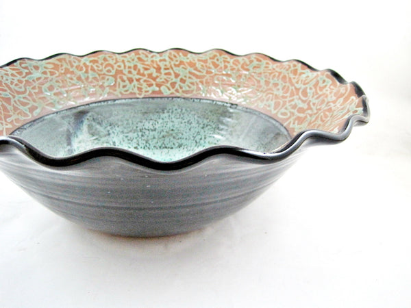 Large Teal Green / Black Serving Bowl from The Twist Collection