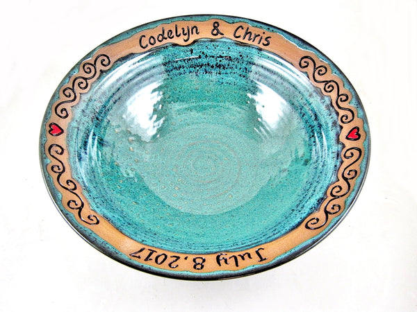 Personalized Wedding bowl with 2 names and date ONLY - Heart & Scroll design