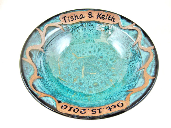 Custom made pottery wedding bowl - 2 names and date ONLY