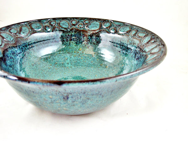 Teal blue River rock serving bowl - IN stock