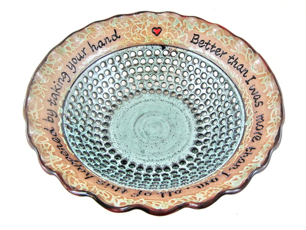 Pottery wedding anniversary bowl in Dark red and teal green - In stock 369 WB
