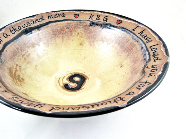 Customized 9th Wedding anniversary bowl - 2 Names, date and phrase