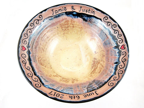 Personalized wedding bowl with names and date ONLY