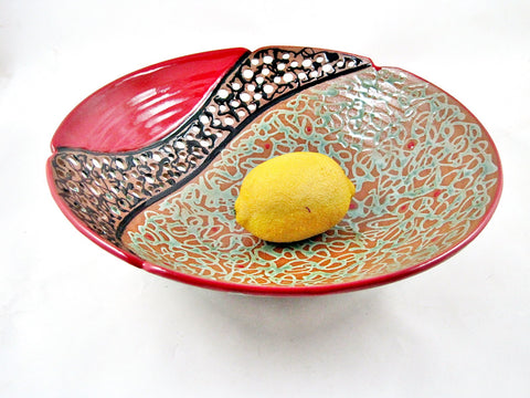 "Large Decorative Fruit Bowl from The Twist Collection 12"" x 3.75""- 110FB I"