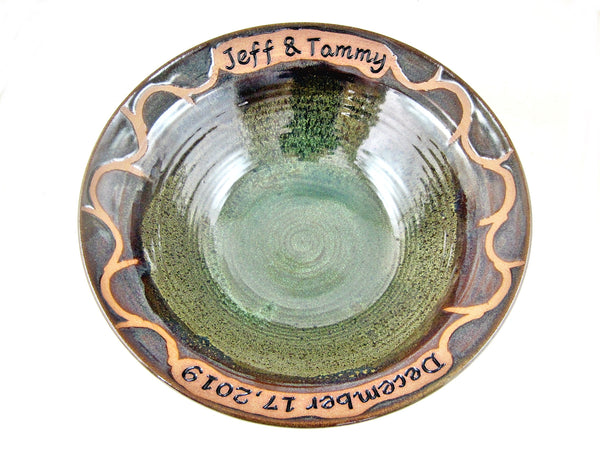 "Personalized wedding bowl in Brown/Olive green - 9.5"" x 2.5"""
