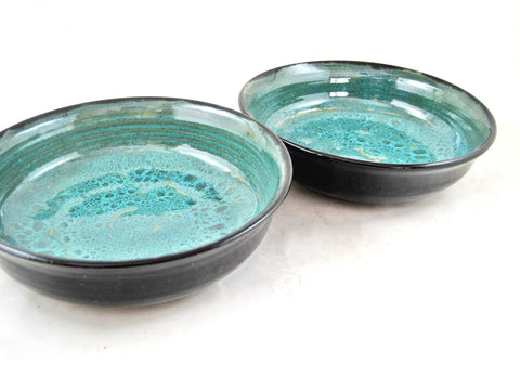 Chili bowls in Teal blue and black - SET OF 2 (Ready to ship)