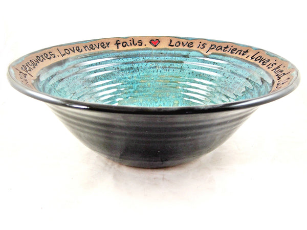 Wedding anniversary bowl in teal blue and black - 378 WB