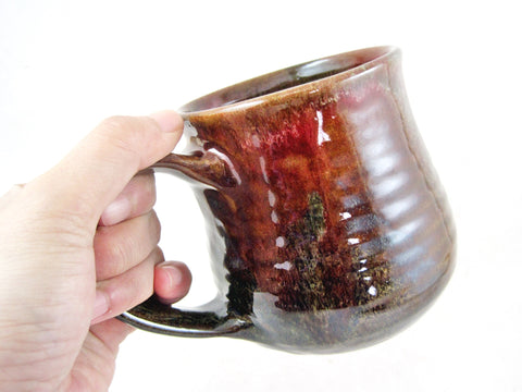 Brown / Olive green / Red brown coffee mug, 18 oz - BM A-1