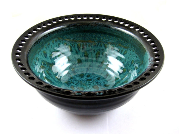 black and teal earring holder - Ning's Pottery