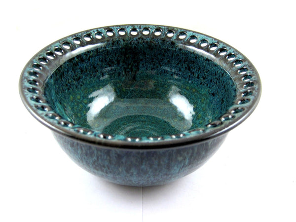 Teal blue earring bowl - Ning's Pottery