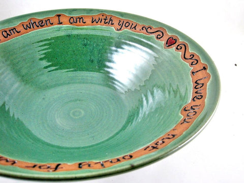 Customized pottery serving bowl by Ning's Pottery
