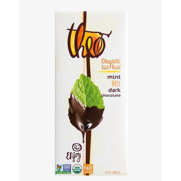 Theo  Mint Dark Chocolate 70% 3 oz.