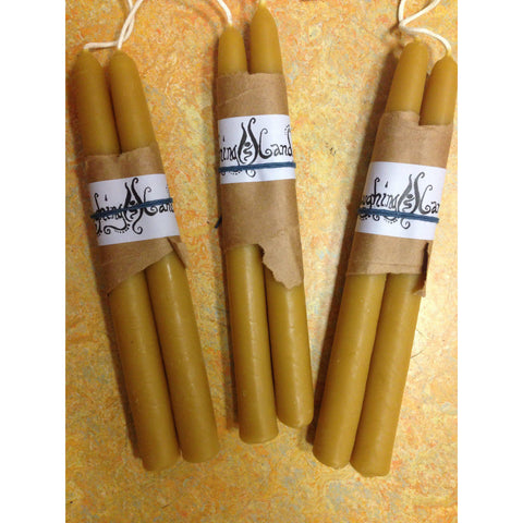 "Beeswax Plain Tapers 9"" Pair"