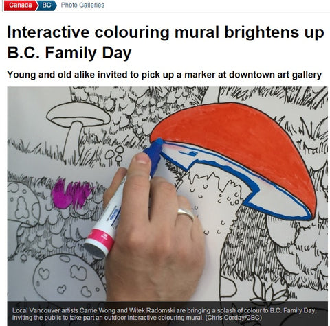 CBC News: Interactive colouring mural brightens up B.C. Family Day