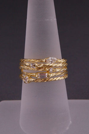 Set of 5 Gold Twist Rings