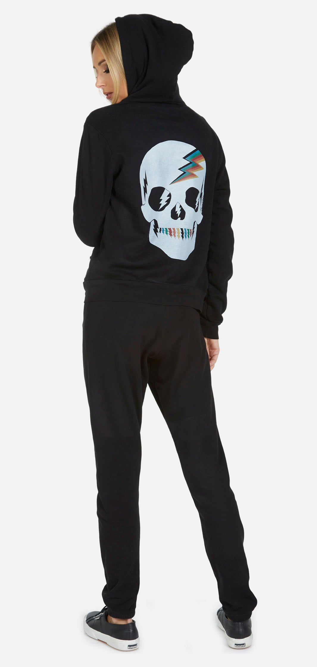 Lennox Rainbow Electric Skull Zip Hoodie Sweatshirt