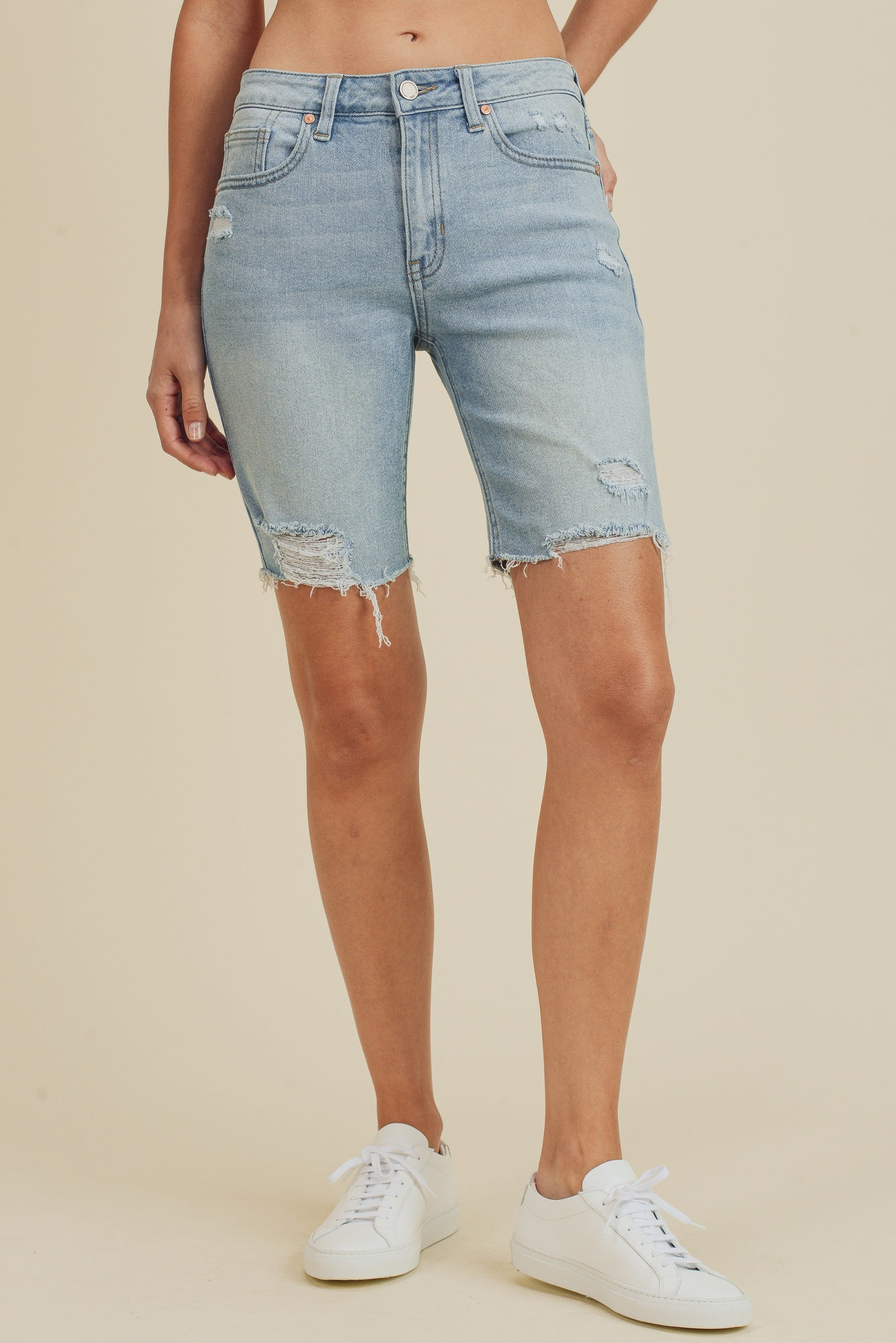 Distressed Biker Short