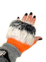 Load image into Gallery viewer, Fur Trimmed Leather Fingerless Gloves
