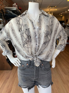 Python Button Front Button Up Blouse