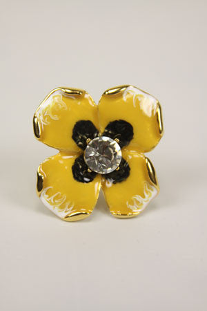 Crystal Flower Ring - Yellow