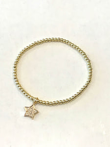Mini Pave Star Bracelet Gold