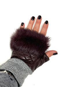 Fur Trim Quilted Leather Fingerless Gloves