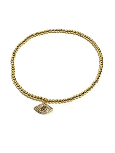 Mini Pave Evil Eye Anklet Gold