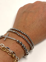 Load image into Gallery viewer, Silver Mini Plain Bead Stretch Bracelet.