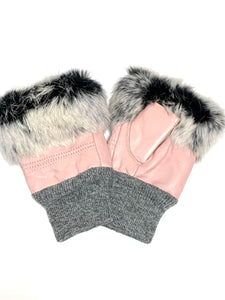 Fur Trimmed Leather Fingerless Gloves