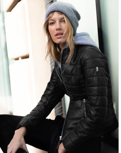 Leather Quilted Jacket with Hood