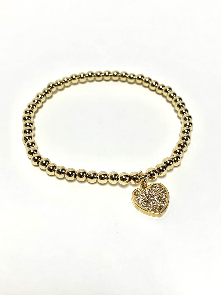 Gold Heart Charm Beaded Stretch Bracelet