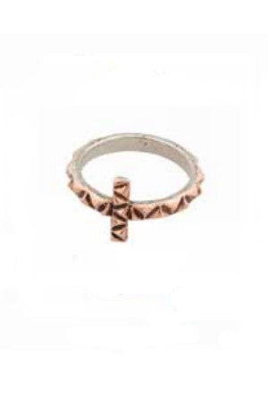 Metal Cross Ring - Rose Gold