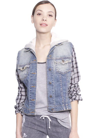 Plaid Sleeve Jean Jacket