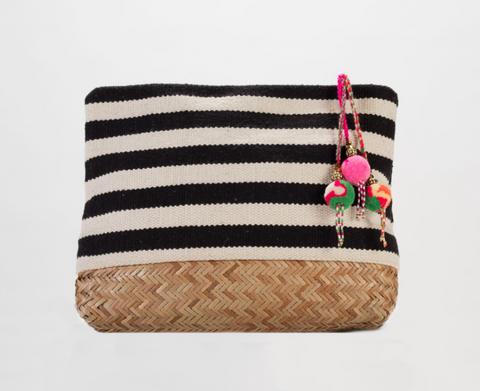 Etienne Stripe Straw Clutch