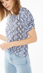 Load image into Gallery viewer, Blue Snakeskin Twist Top