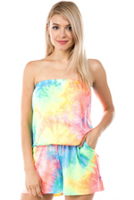 Load image into Gallery viewer, Neon Tie Dye Tube Romper