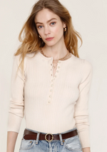 Load image into Gallery viewer, Isla Rib Pearl Button Henley