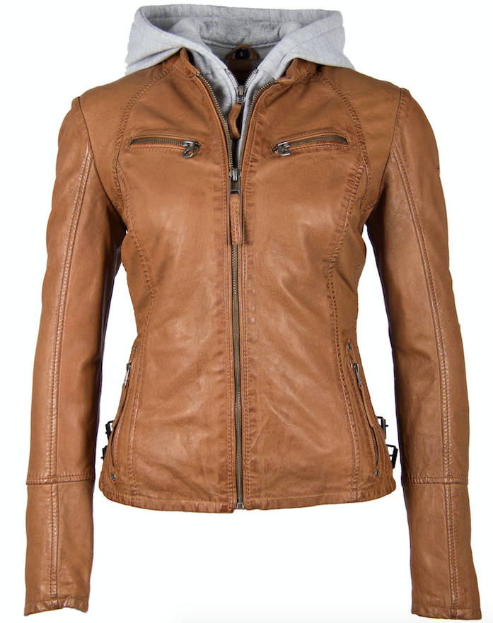 Leather Jacket with Removable Hood