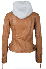 Load image into Gallery viewer, Leather Jacket with Removable Hood