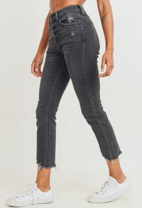 Exposed Button High Rise Straight Jean