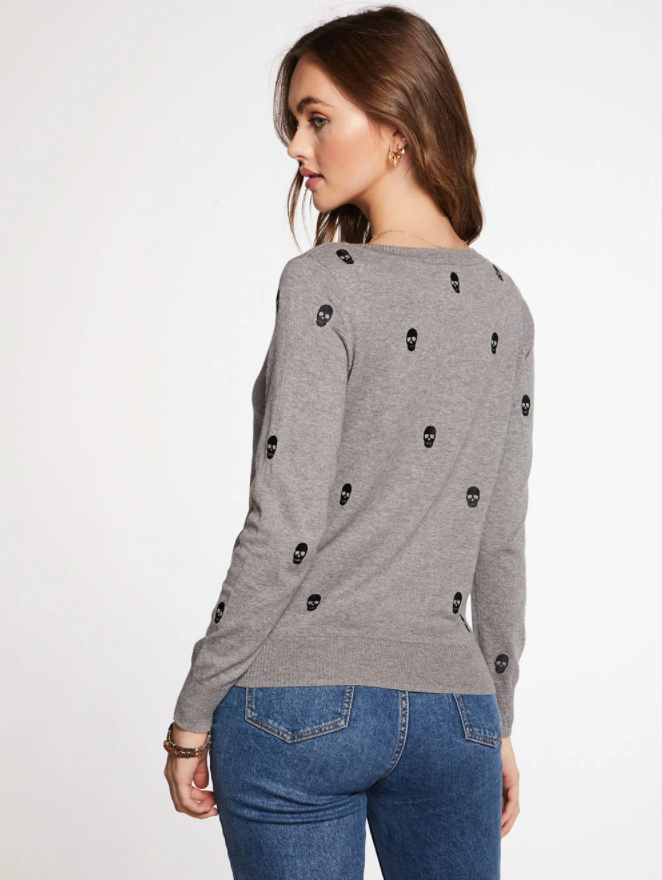 Embroidered Mini Skull Sweater