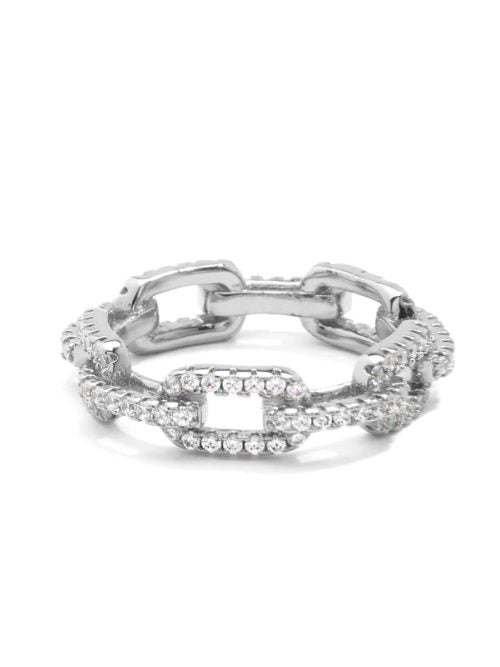 Silver Crystal Link Eternity Ring