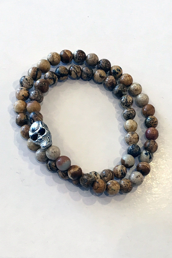 Double Wrap Stretch Silver Skull Bracelet/Choker