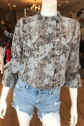 3/4 Mock Neck Print Top