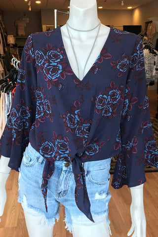 Bell Sleeve Floral Print Top