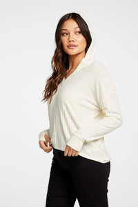 Ribbed Hooded Pullover